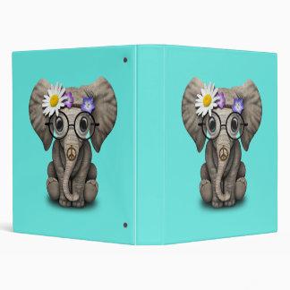 Cute Baby Elephant Hippie Vinyl Binder