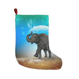 Cute baby elephant large christmas stocking