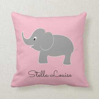 Cute Baby Elephant on Pink   Nursery Throw Pillow