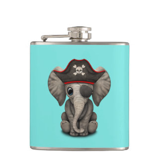 Cute Baby Elephant Pirate Hip Flask
