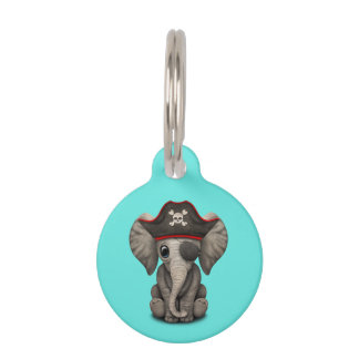 Cute Baby Elephant Pirate Pet ID Tag