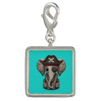 Cute Baby Elephant Pirate Photo Charms
