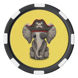 Cute Baby Elephant Pirate Poker Chips