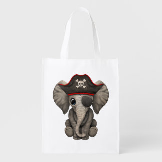 Cute Baby Elephant Pirate Reusable Grocery Bag