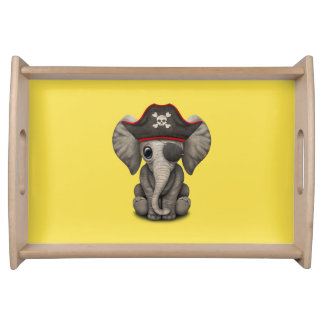Cute Baby Elephant Pirate Serving Tray