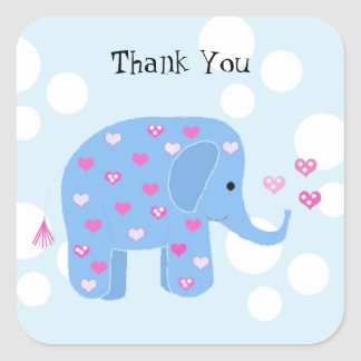 Cute Baby Elephant Thank You Square Sticker