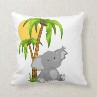 Cute Baby Elephant Throw Pillow