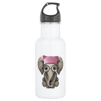 Cute Baby Elephant Wearing Pussy Hat 532 Ml Water Bottle