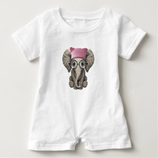 Cute Baby Elephant Wearing Pussy Hat Baby Romper