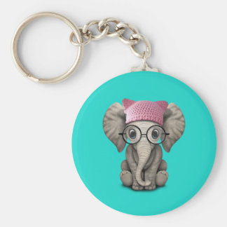 Cute Baby Elephant Wearing Pussy Hat Basic Round Button Keychain