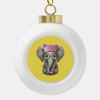 Cute Baby Elephant Wearing Pussy Hat Ceramic Ball Christmas Ornament