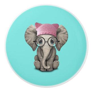 Cute Baby Elephant Wearing Pussy Hat Ceramic Knob