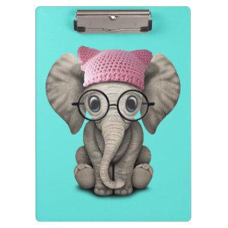 Cute Baby Elephant Wearing Pussy Hat Clipboard