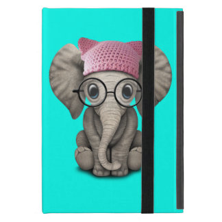 Cute Baby Elephant Wearing Pussy Hat Cover For iPad Mini