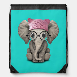 Cute Baby Elephant Wearing Pussy Hat Drawstring Bag