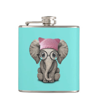 Cute Baby Elephant Wearing Pussy Hat Hip Flask