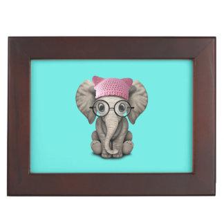 Cute Baby Elephant Wearing Pussy Hat Keepsake Box