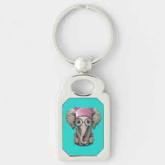 Cute Baby Elephant Wearing Pussy Hat Keychain