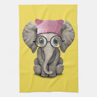 Cute Baby Elephant Wearing Pussy Hat Kitchen Towel