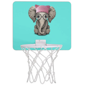 Cute Baby Elephant Wearing Pussy Hat Mini Basketball Hoop