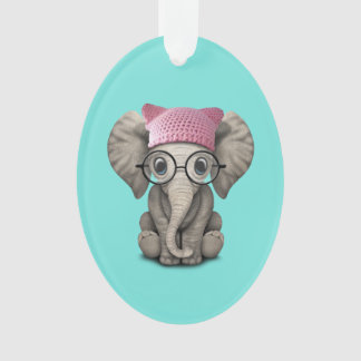 Cute Baby Elephant Wearing Pussy Hat Ornament