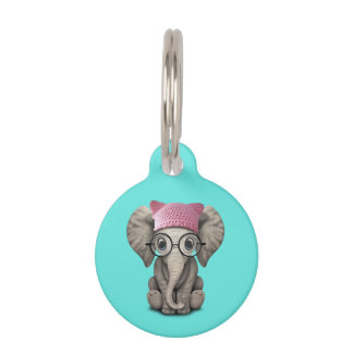 Cute Baby Elephant Wearing Pussy Hat Pet Name Tag