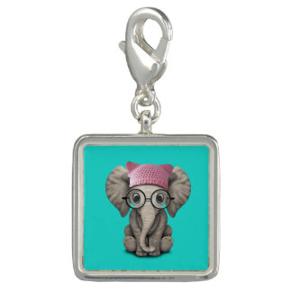 Cute Baby Elephant Wearing Pussy Hat Photo Charm