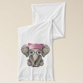 Cute Baby Elephant Wearing Pussy Hat Scarf