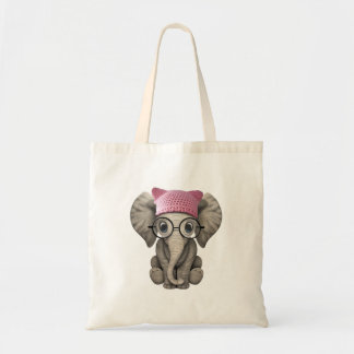 Cute Baby Elephant Wearing Pussy Hat Tote Bag