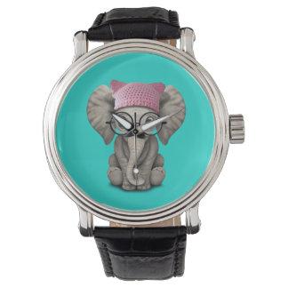 Cute Baby Elephant Wearing Pussy Hat Watch