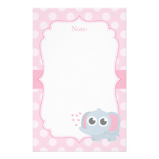 Cute Baby Elephant With Love For Girls Stationery
