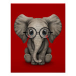 Cute Baby Elephant with Reading Glasses Red Poster