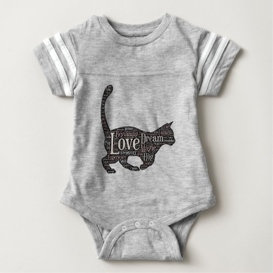 Cute Baby Football Bodysuit with black cat
