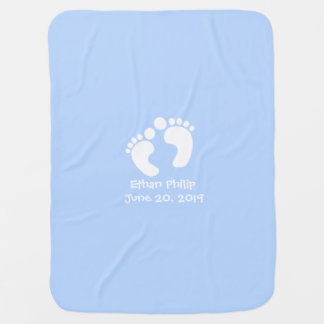 Cute Baby Footprints Personalized Name Birth Date Baby Blanket