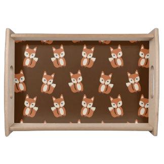 Cute Baby Fox Animal Print Pattern Serving Platters