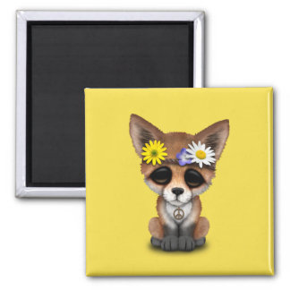 Cute Baby Fox Hippie Magnet