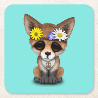 Cute Baby Fox Hippie Square Paper Coaster
