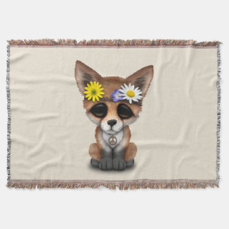 Cute Baby Fox Hippie Throw Blanket