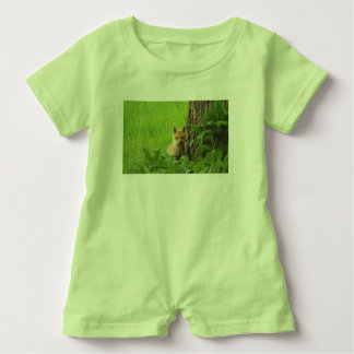Cute baby fox in springtime photograph baby romper