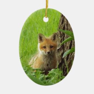 Cute baby fox in springtime photograph ceramic ornament