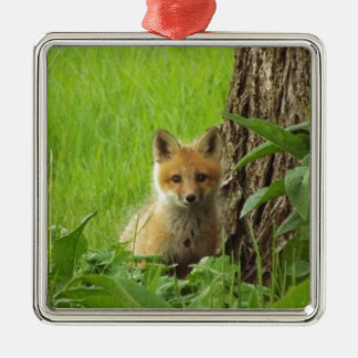Cute baby fox in springtime photograph metal ornament