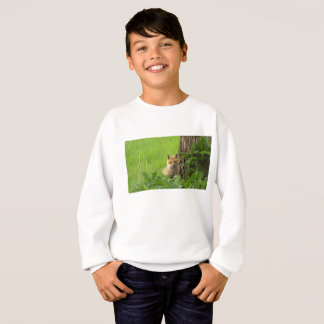 Cute baby fox in springtime photograph sweatshirt