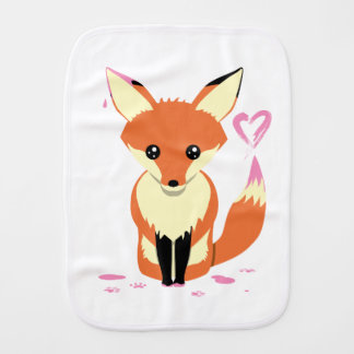 Cute Baby Fox Paints Pink Heart Burp Cloth
