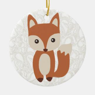 Cute Baby Fox Round Ceramic Ornament