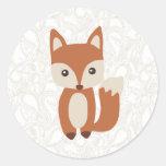 Cute Baby Fox Round Sticker