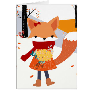 Cute baby fox wolf girl in happy time card