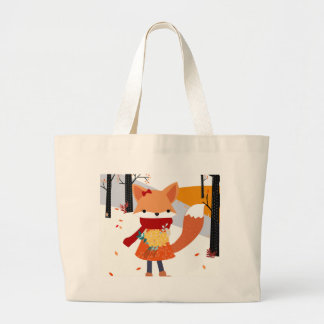 Cute baby fox wolf girl in happy time large tote bag