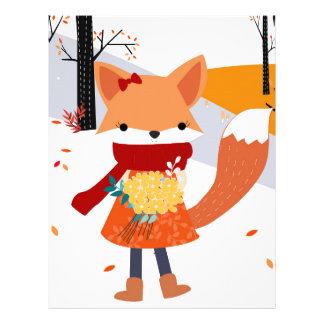 Cute baby fox wolf girl in happy time letterhead