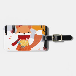 Cute baby fox wolf girl in happy time luggage tag
