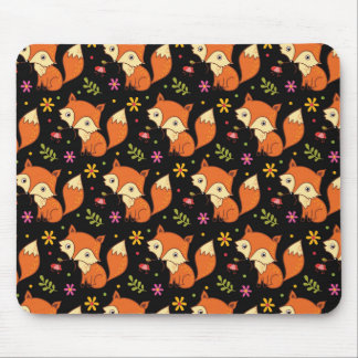 Cute Baby Fox Woodland Forest Black Mousepad